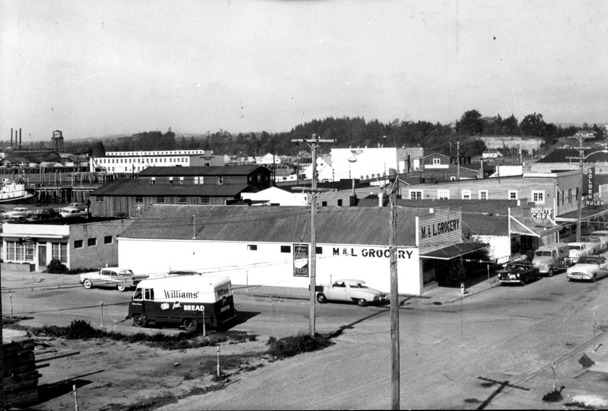 Bandon businesses in downtown, 1956