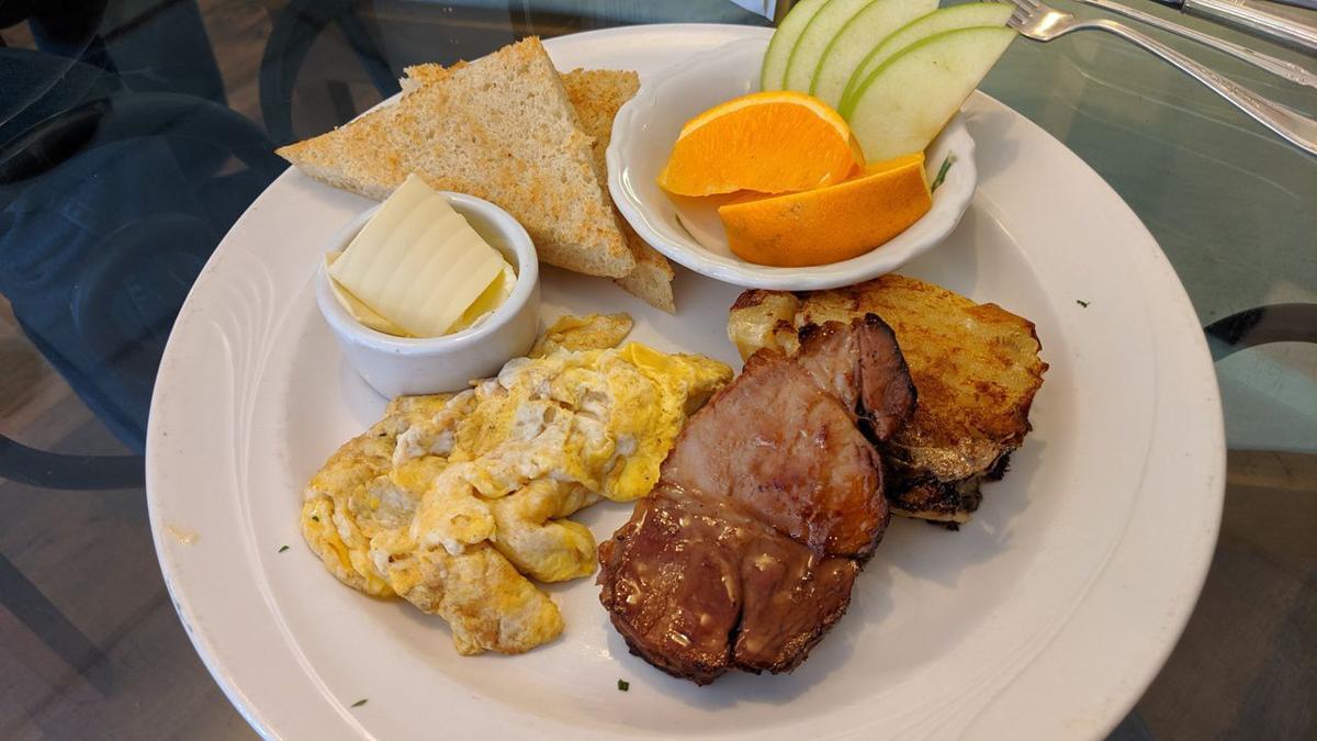 shoestring maple pork loin, eggs