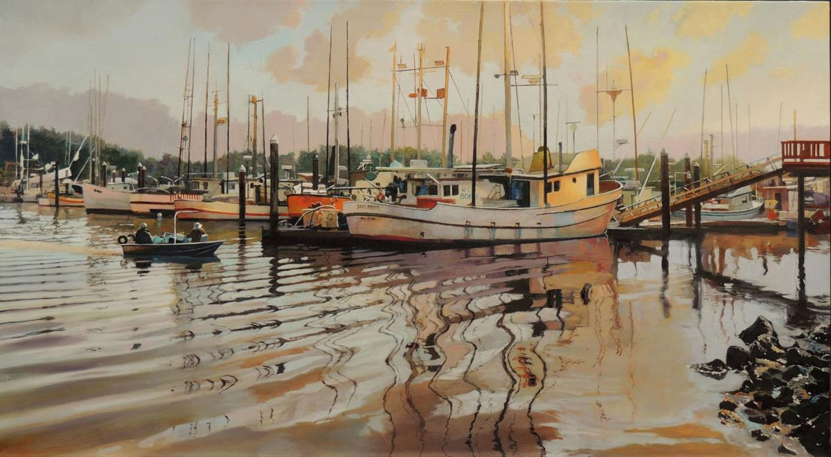"""Returning with Today's Catch"" oil by William Selden, People's Choice Award – 2018 Maritime Exhibition"