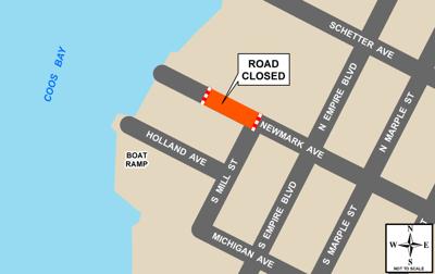 Newmark Avenue road closure MAP