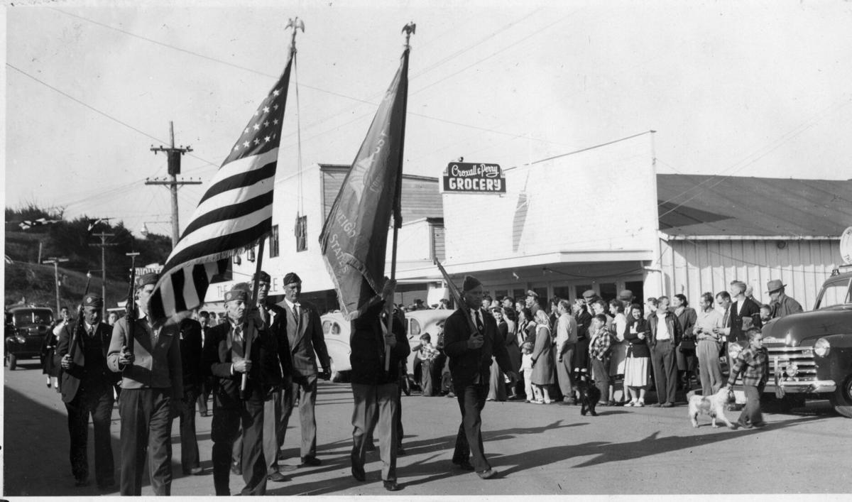 First Cranberry Parade, 1948 - VFW Color Guard
