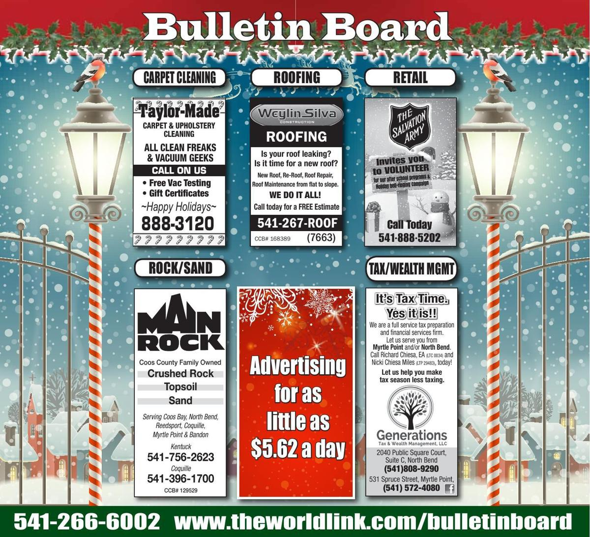Bulletin Board Week Ending Dec. 30, 2017