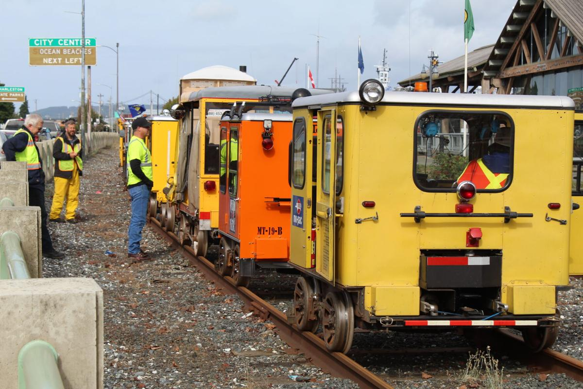 railcar speeders narcoa - parked in a line