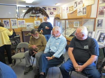 Bandon Fire of 1936 survivor Ray Wooden, center, talks with other fire program attendees
