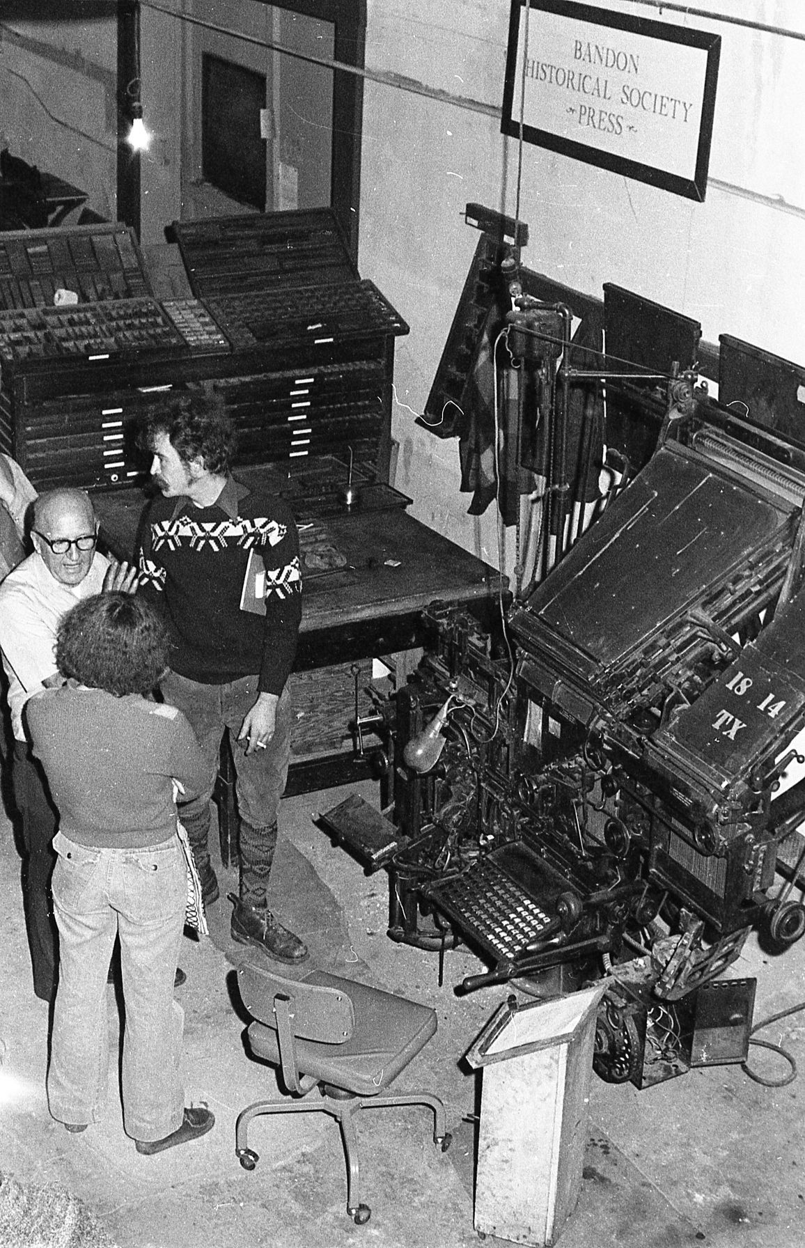 Museum display with linotype machine, 1978