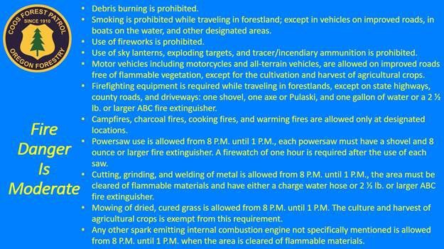Coos Forest Protective Association: Fire danger is moderate
