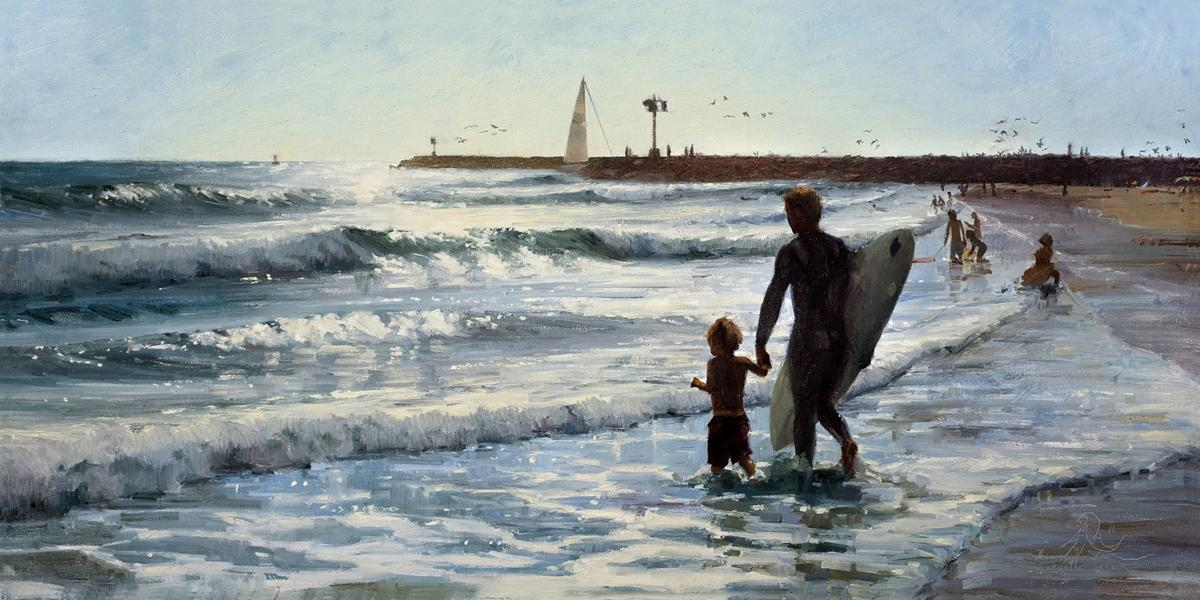 """Surf Lesson"" oil by Micaiah Hardison, Best of Show – 2018 Maritime Exhibition"