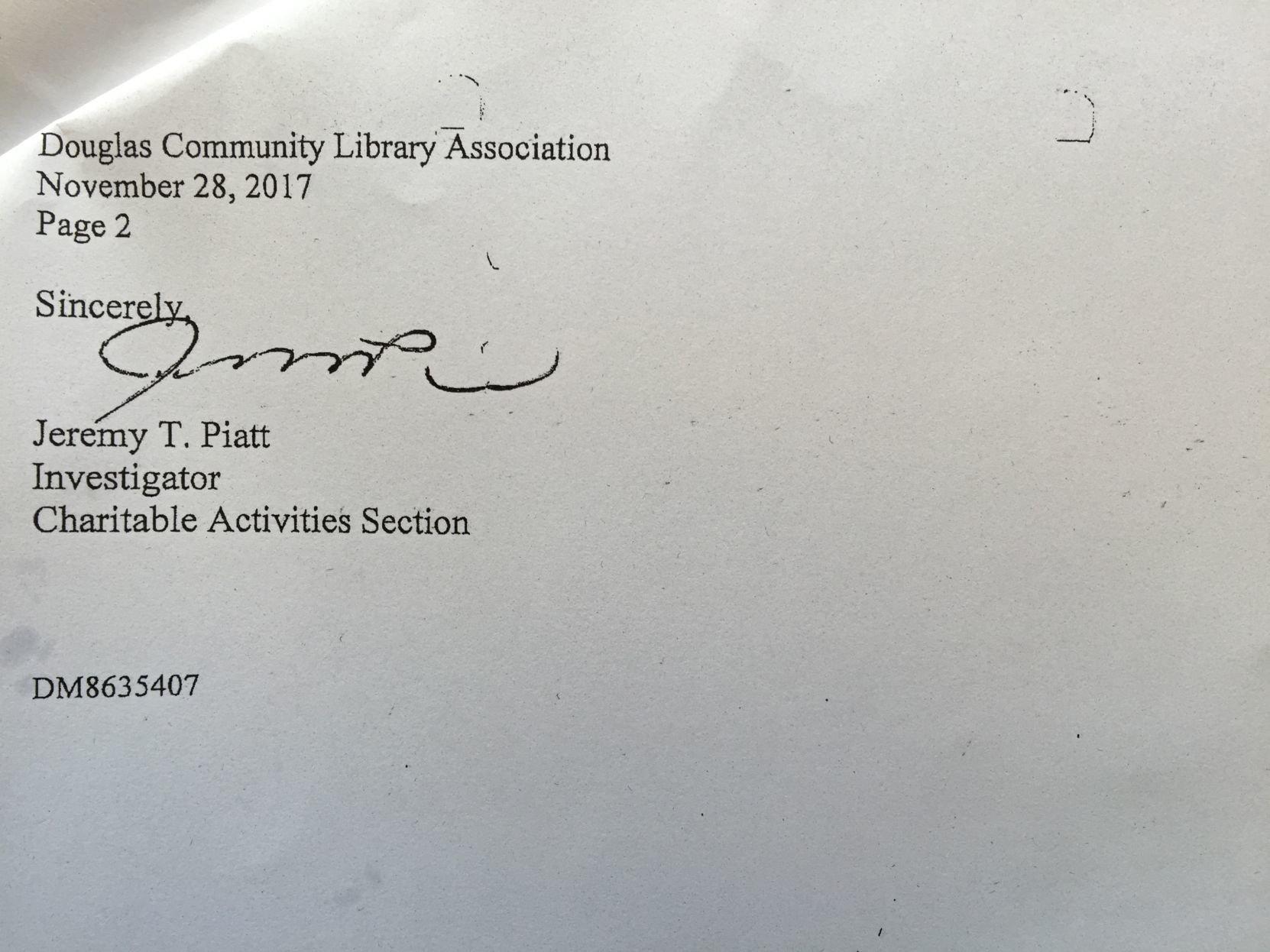 Volunteer Library Coordinator Tatiana Resetnikov resigns