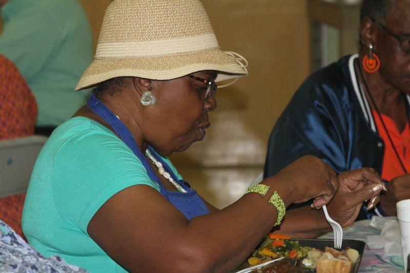 Lennie Walker eats lunch at the Moultrie Senior Center.
