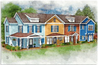 An artist rendering of the proposed new construction was included in the application.