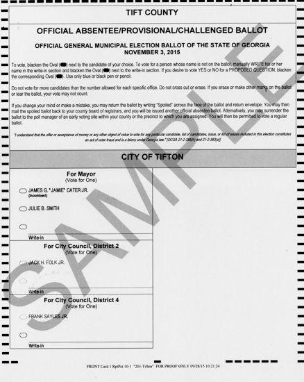 Sample ballot | News | tiftongazette.com