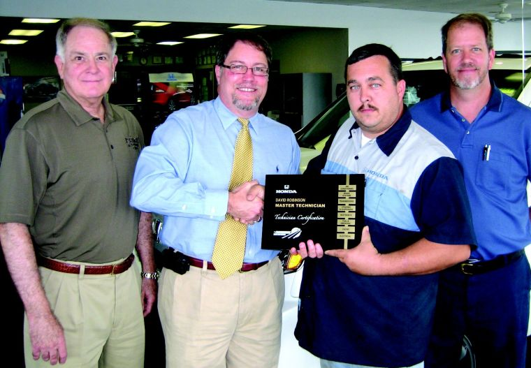 Pictured Are (left To Right) John Prince, Dealer, George Oppel, Honda  District Service ...