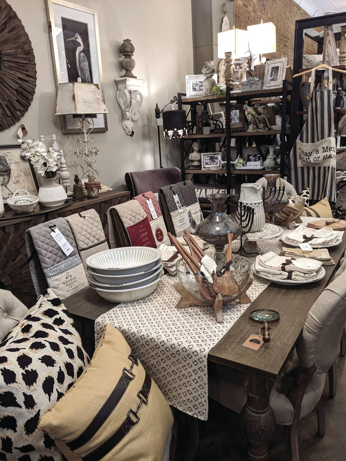 The boutique specializes in home furnishings and carries everything from furniture to wall decor to items for the kitchen.