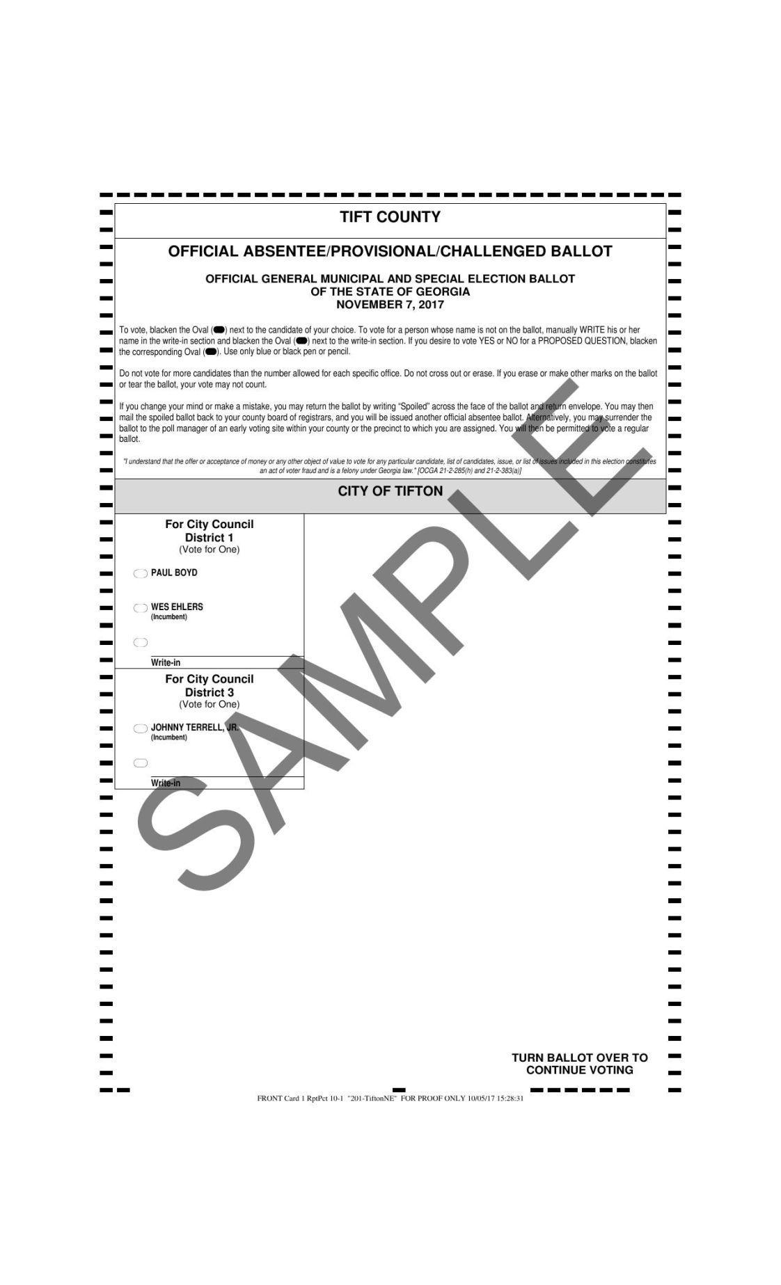 first image of 6 Printable Voting Ballot Template Yyatt with Sample Tift County ballots | | tiftongazette.com
