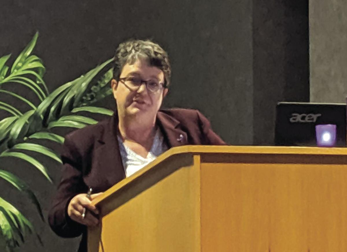 Jennifer Thomas spoke at the vigil.