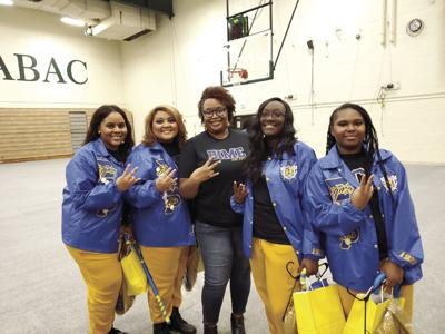The four members inducted into the Sigma Gamma Rho colony at ABAC include (l-r): Jireh Jones, Brittney Burks, advisor Sharon Daniels, Jhonelle Chambers, and Alysha Stubbs.