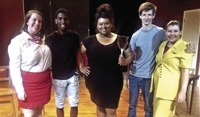 The cast of the Baldwin Players' production of 'Boeing, Boeing' includes (l-r) Isabella Sauls from Albany, Roderick Baisden from Tifton, Angel Rewis from Fargo, Parker Lewis from Macon, and Hannah Moseley from Cochran.