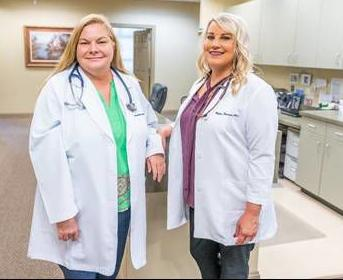 Family nurse practitioners Tess Goodwin (left) and Deidre Dorman (right) with the new Southwell Center for Healing and Wellness.