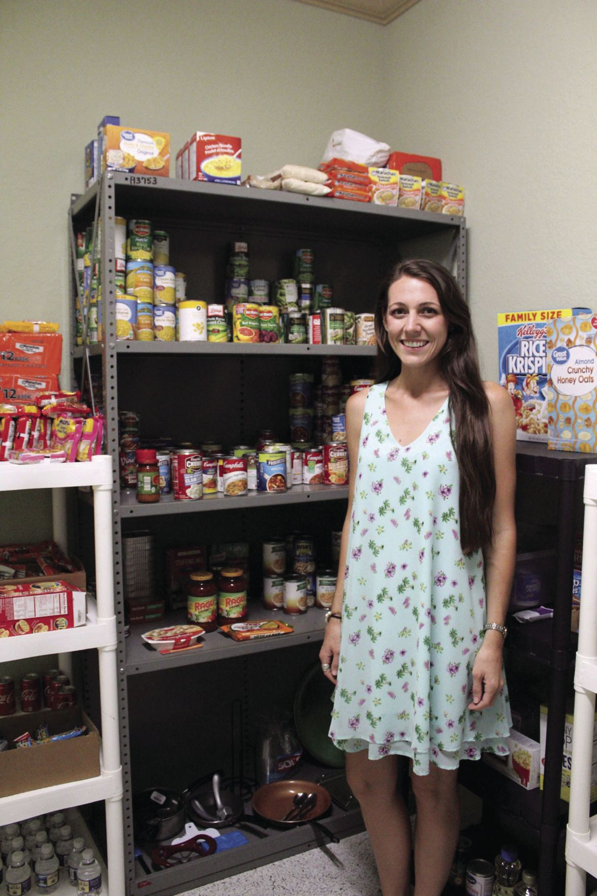 Sarah Herring is collecting food and professional clothing for students who have experienced homelessness or foster care.