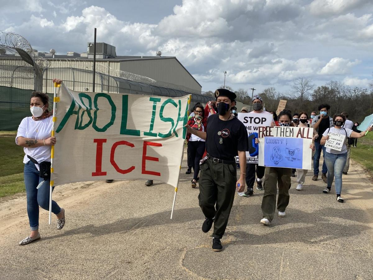 ICE protestors marched around Irwin County Detention Center demanding the building's closure