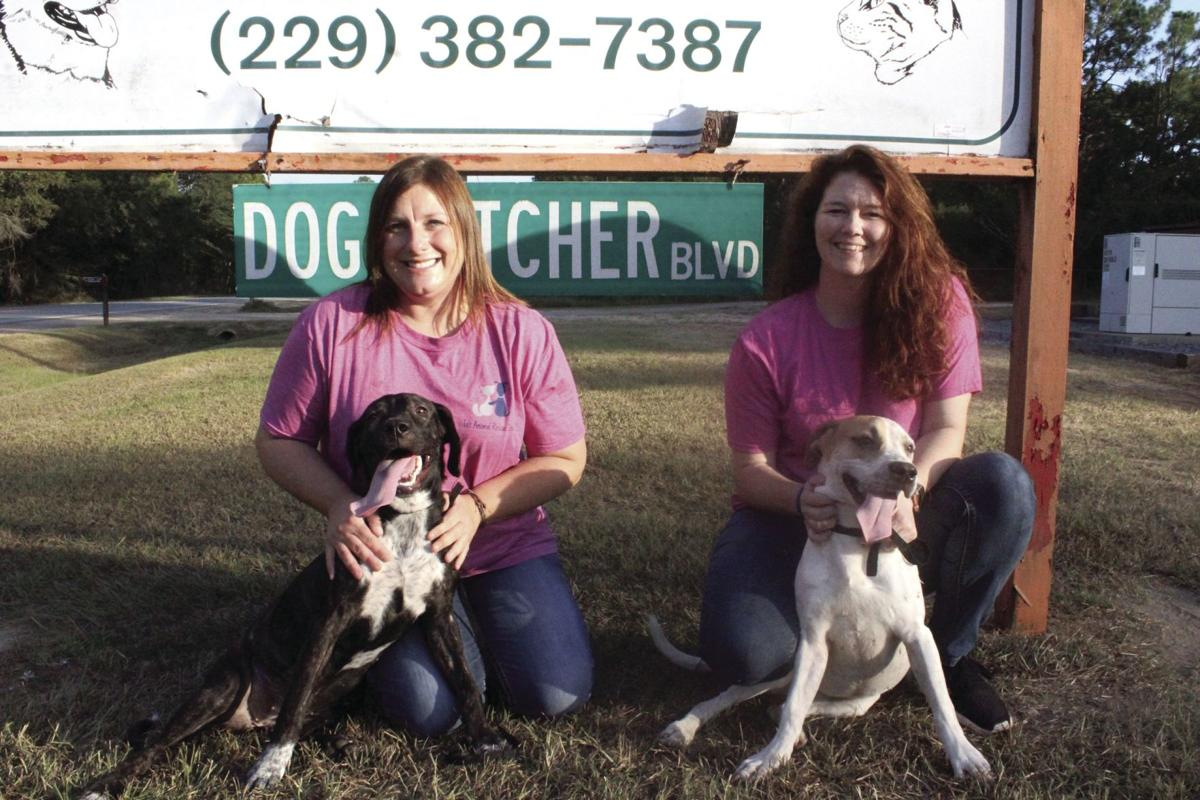 Leah Robbins and Candace Hernandez with two of the dogs they're working to find homes for.