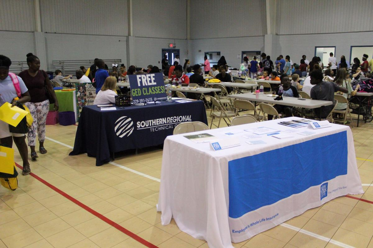 Informational booths were set up at the Stay in School Rally for parents and students to learn about community resources available to them.