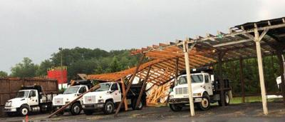 Winds damage parking bays at Whitfield County Public Works Department