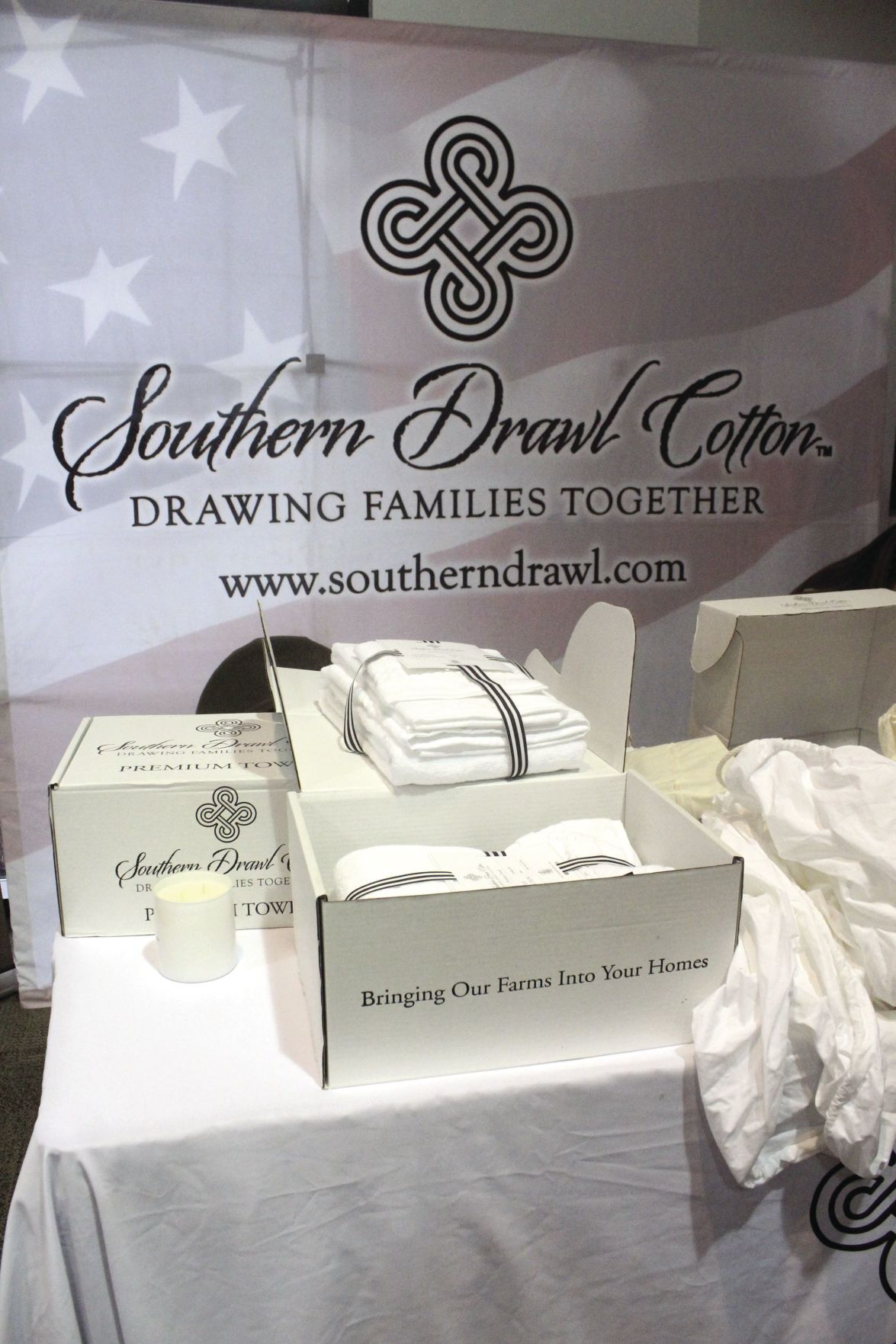 Southern Drawl, a company which makes bedsheets and towels out of cotton grown in Georgia, set up a booth at the conference