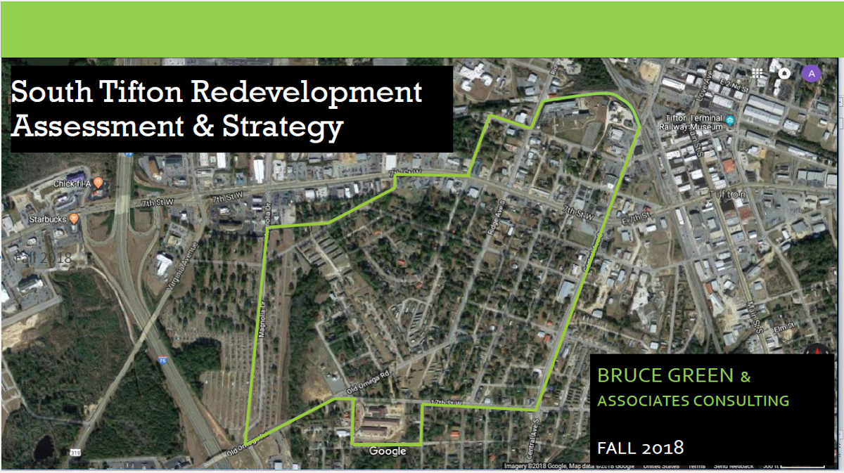 The boundaries of the redevelopment area were outlined on a map.