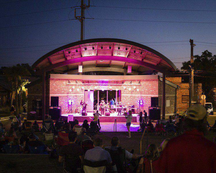 Ritz Amphitheater is the setting for a band performance at an event in Downtown Thomasville.