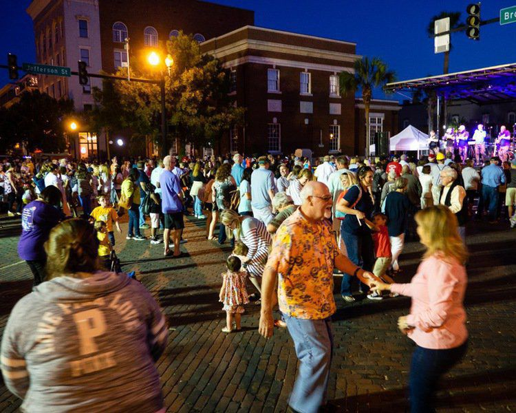 A street dance follows the annual Rose Festival Parade each April in Thomasville.