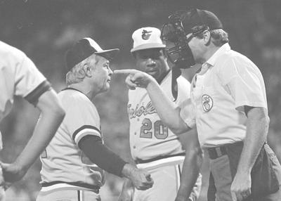 e935fb48da5 Plate umpire John Shulock makes a point as he argues with Baltimore Orioles  manager Earl Weaver during a game on August 21