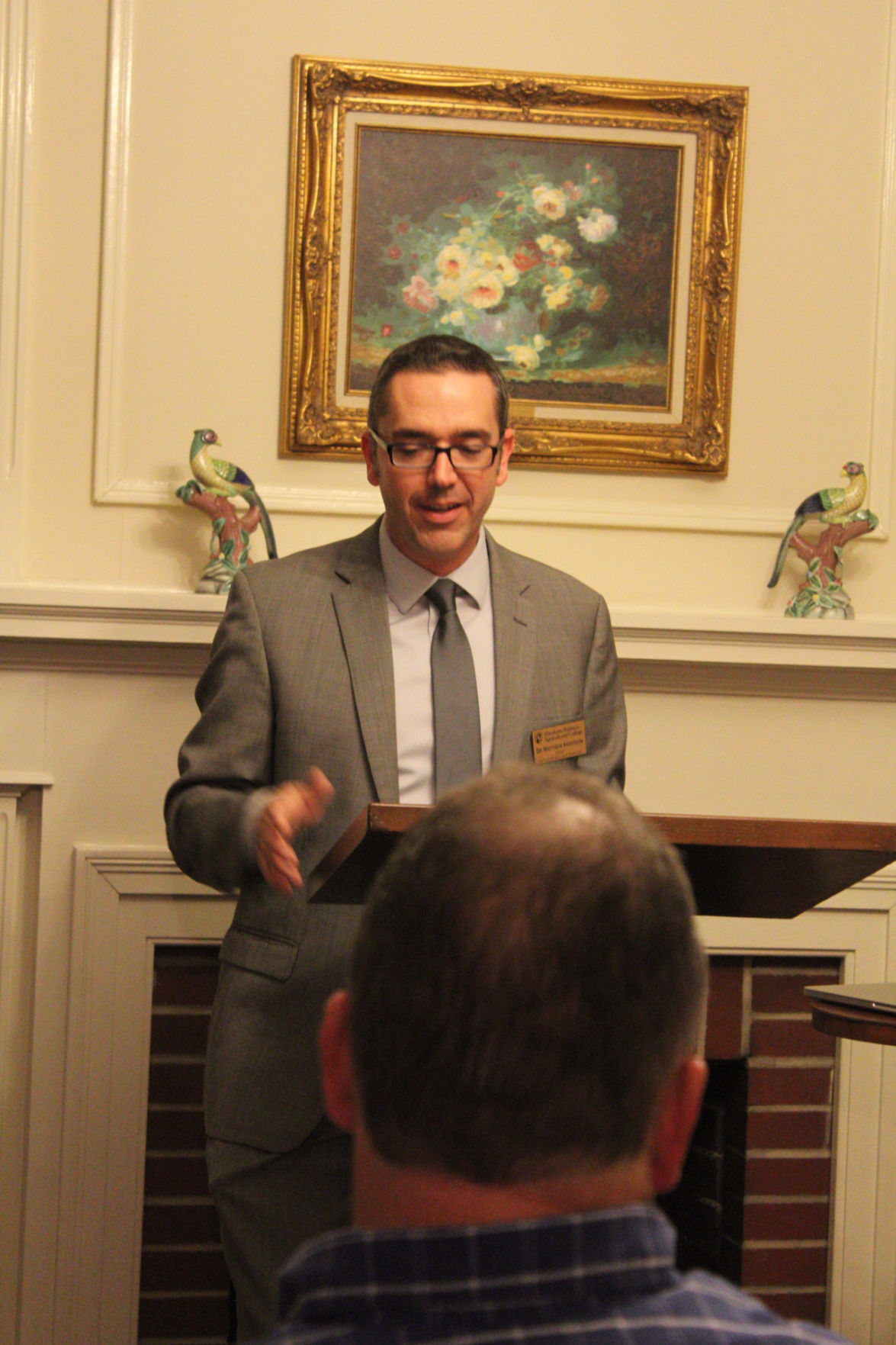 """Matthew Anderson, dean of the ABAC school of arts and sciences, introduces ABAC professor and author, Jeff Newberry at the book launch for """"Cross Country."""""""