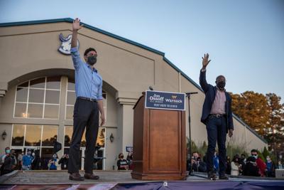 Jon Ossoff and Rev. Raphael Warnock campaign in Jonesboro