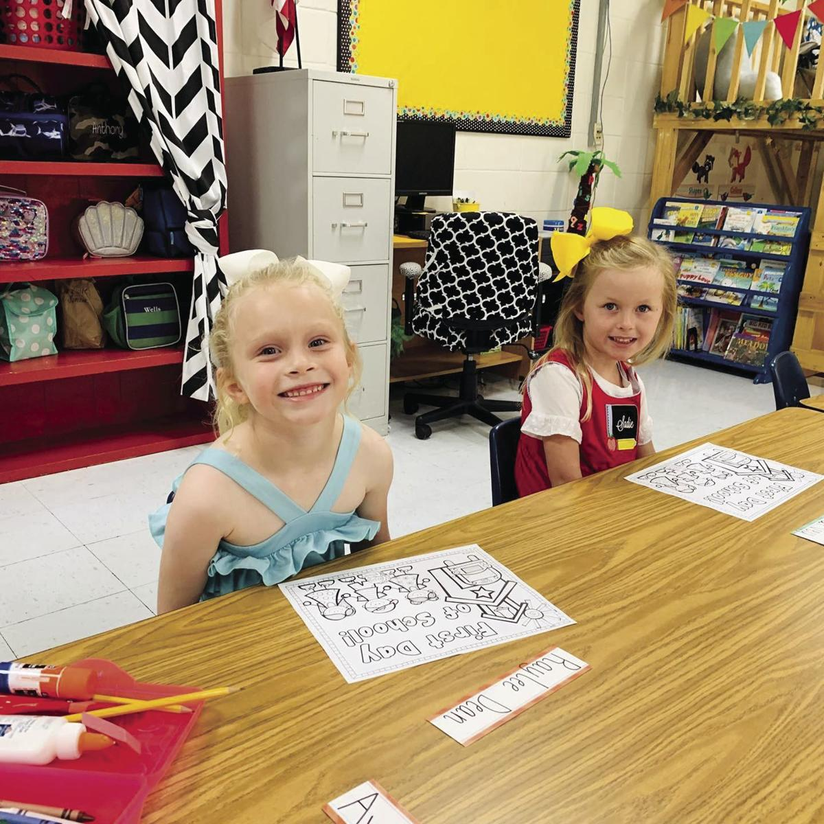 Raylee Dean and Sadie Garvey are excited for their first day of school at Tiftarea Academy.