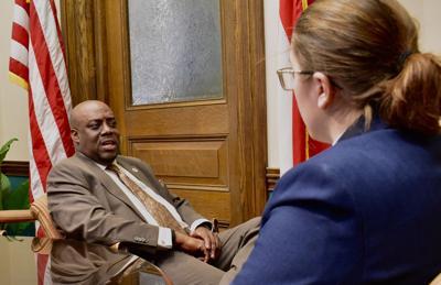 Van Johnson is interviewed at City Hall