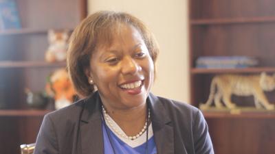 Tiger's Roar Interviewing Interim President Kimberly Ballard-Washington in 2019