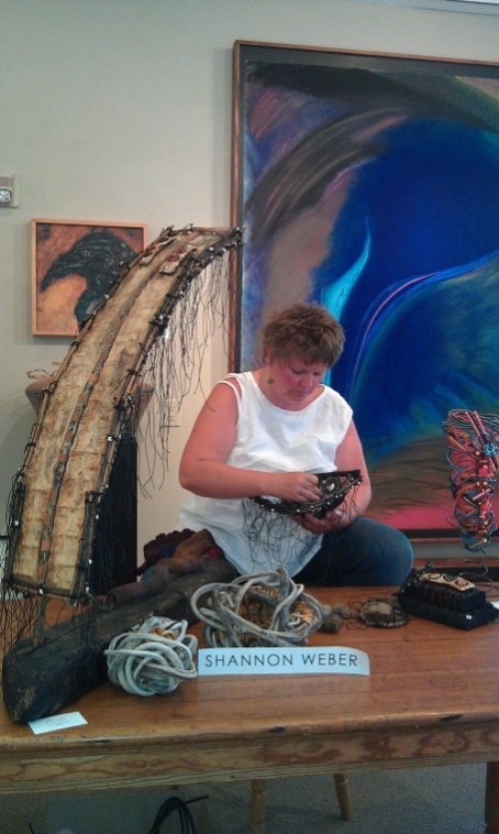 Shannon Weber at work at Rowboat Gallery
