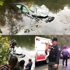 Mother, child rescued from crash in river