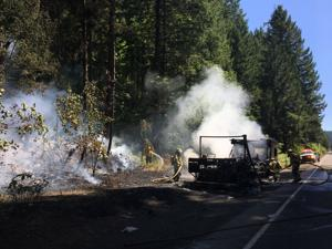 Motorhome fire closes Highway 6