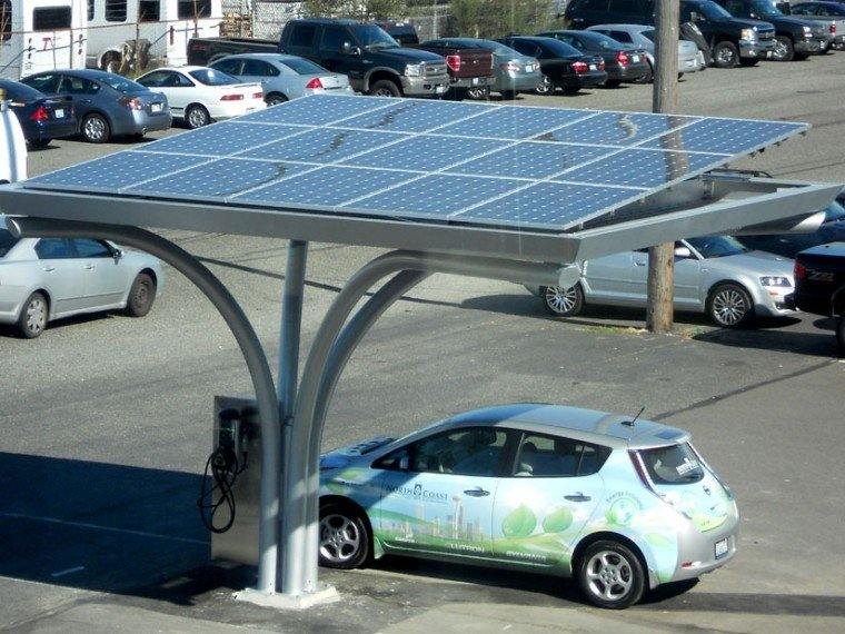 Car charging station with solar panels overhead