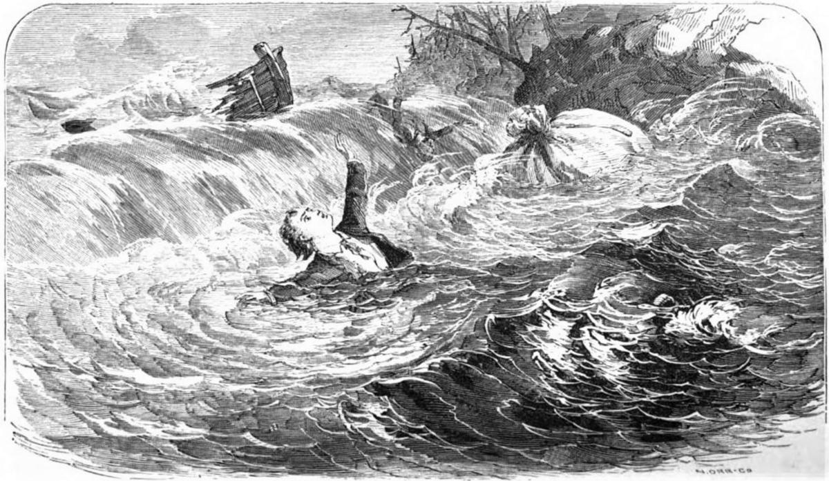 Woodcut of water wreck