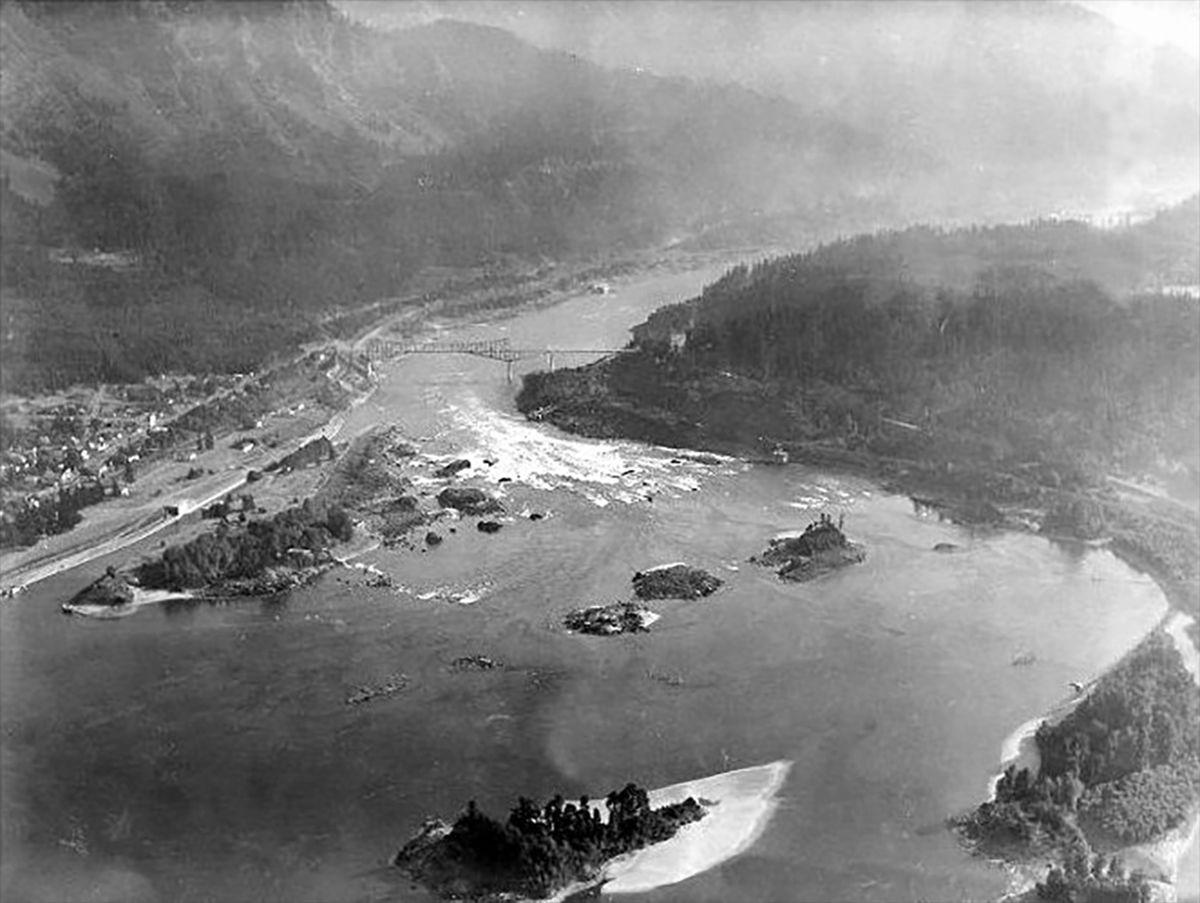 Murky aerial shot of river