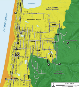Tsunami evacuation maps for Nehalem River Valley area and Rockaway
