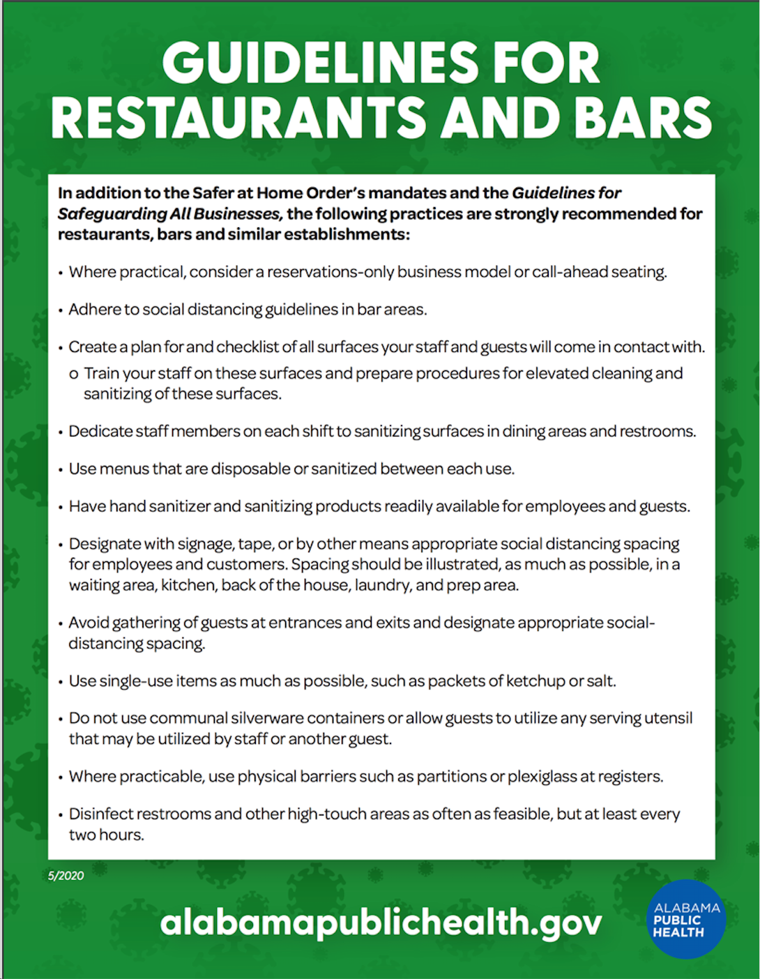 Guidelines for restaurants and bars