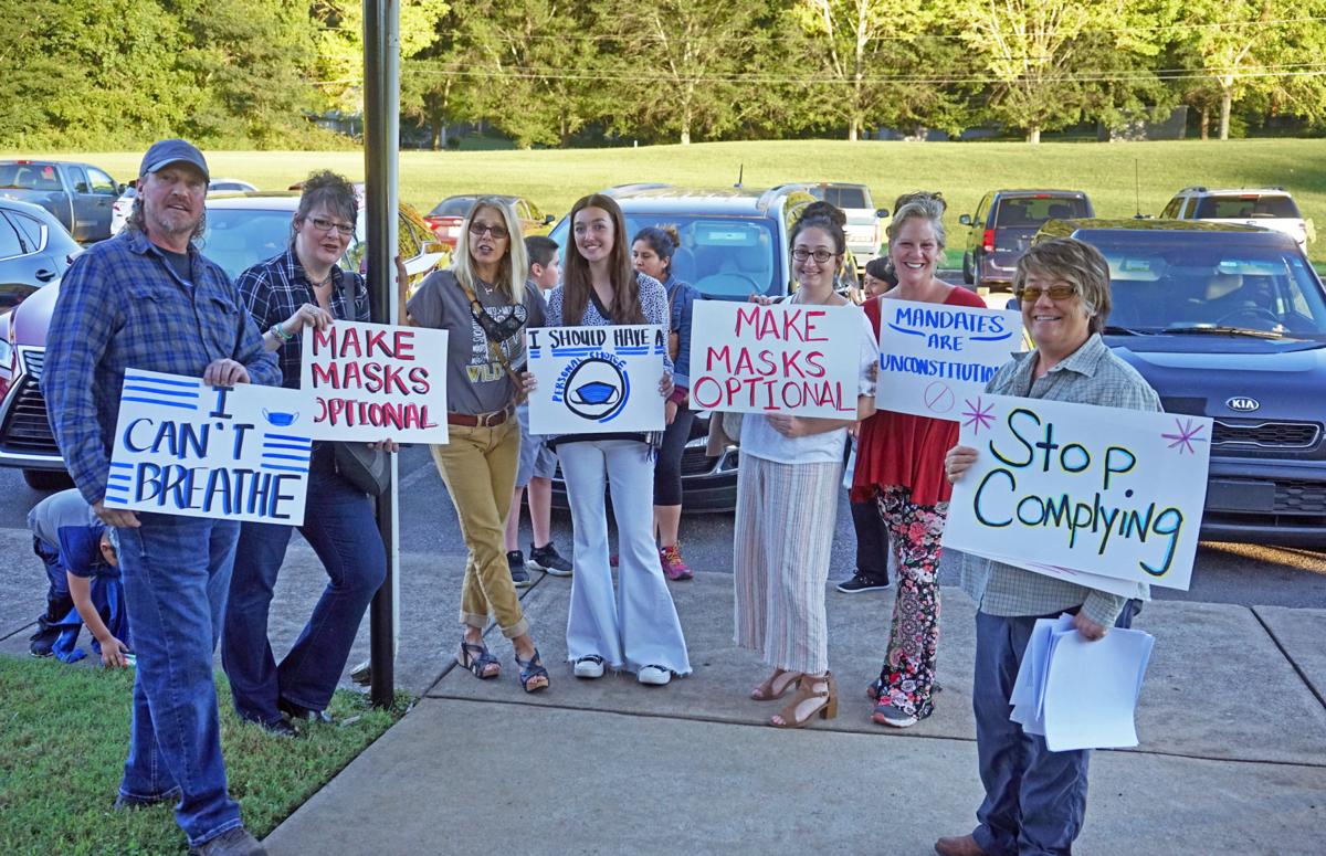 Group protests mandate at BOE meeting