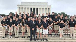 """<p class=""""p1""""><span class=""""s1"""">Sylvania and Geraldine High School band members played American-composed music on the steps at the Lincoln Memorial Monument on Sunday.</span></p>"""