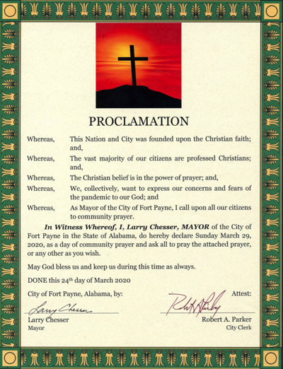 Fort Payne mayor announces proclamation designating March 29 as day of community prayer