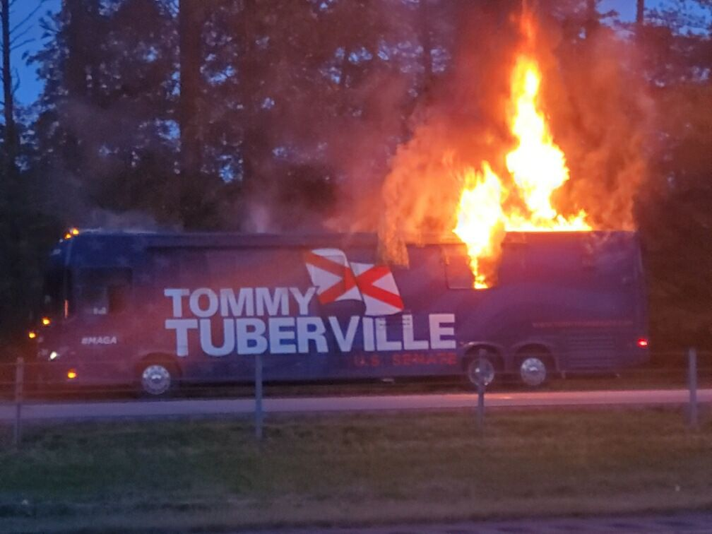 Tuberville campaign bus catches fire on interstate