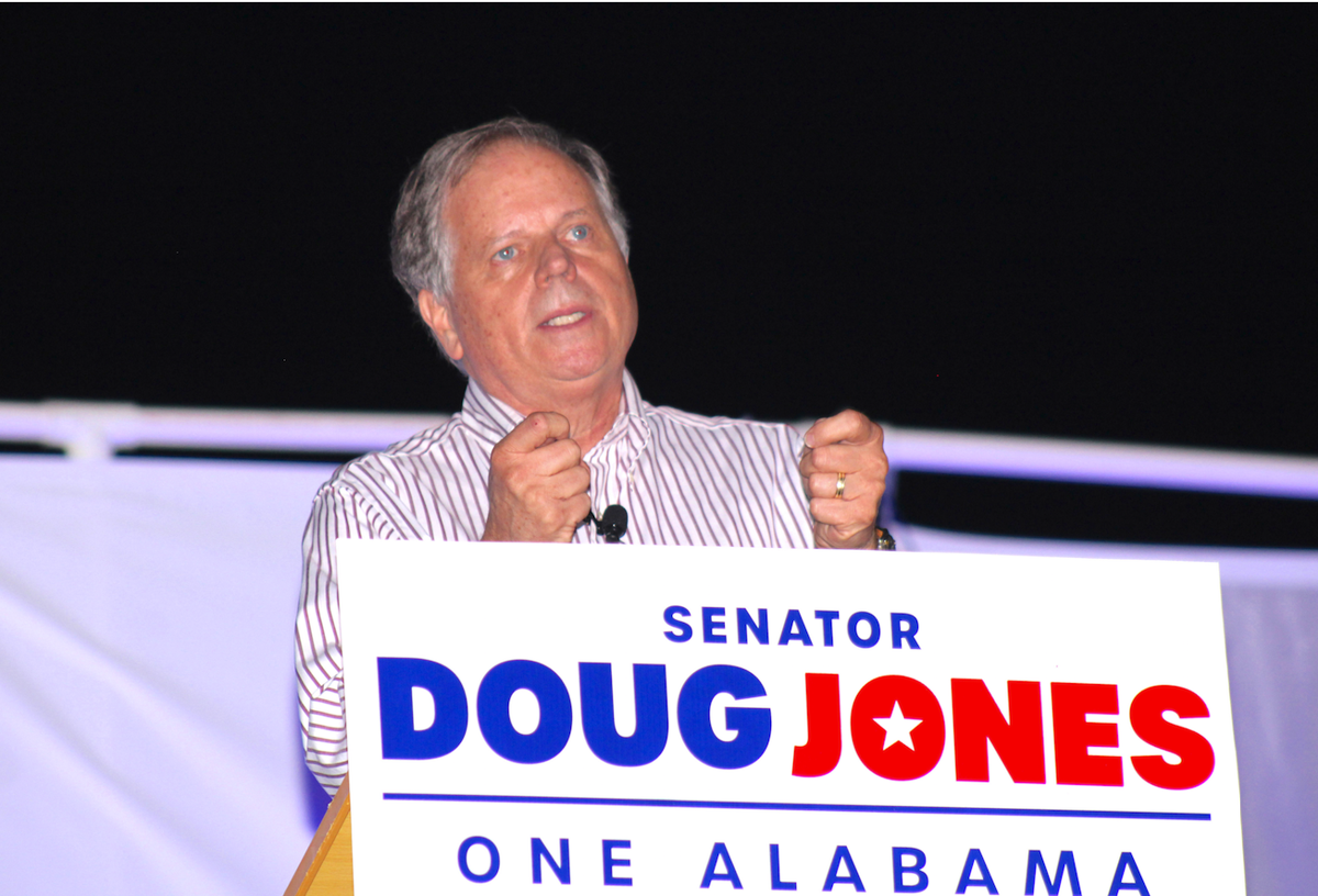 Sen. Doug Jones rallies in Rainsville
